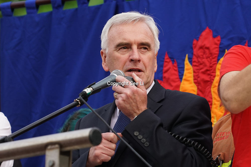 London,England,UK : 27th June 2016 : John McDonnell MP addresses the crowd KeepCorbyn protest against coup and Build our movement  at Parliament Square, London,UK. photo by See Li