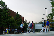 Students are released from Emmett J. Conrad High School in Dallas, Texas on October 2, 2014. Officials confirmed that a student at Emmett J. Conrad High School had come in contact with the first confirmed Ebola virus patient in the United States. (Cooper Neill for The New York Times)