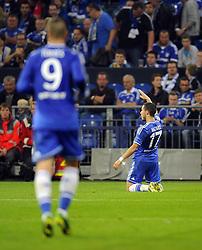 Chelsea's Eden Hazard celebrates - Photo mandatory by-line: Joe Meredith/JMP - Tel: Mobile: 07966 386802 22/10/2013 - SPORT - FOOTBALL - Veltins-Arena - Gelsenkirchen - FC Schalke 04 v Chelsea - CHAMPIONS LEAGUE - GROUP E