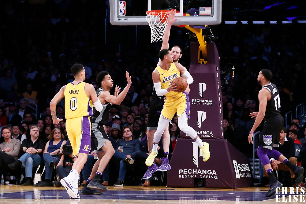 09 January 2018: Los Angeles Lakers guard Jordan Clarkson (6) goes to the basket against Sacramento Kings center Kosta Koufos (41) during the LA Lakers 99-86 victory over the Sacramento Kings, at the Staples Center, Los Angeles, California, USA.
