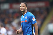 Joe Thompson celebrates his assist for the opening goal 1-0 during the EFL Sky Bet League 1 match between Rochdale and Bradford City at Spotland, Rochdale, England on 21 April 2018. Picture by Daniel Youngs.