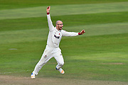 Jack Leach of Somerset appeals for a wicket during the Specsavers County Champ Div 1 match between Somerset County Cricket Club and Lancashire County Cricket Club at the Cooper Associates County Ground, Taunton, United Kingdom on 14 September 2017. Photo by Graham Hunt.
