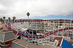 Giant Dipper wooden rollercoaster, Santa Cruz Boardwalk, Santa Cruz, California, United States of America