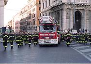 Roma 1 Dicembre 2001  .I Funerali  dei  quattro Vigili del Fuoco, morti nel esplosione  di via Ventotene.Rome December 1 st 2001  .The Funerals of the four firefighter, dead in the explosion of Via Ventotene