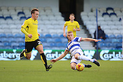 Queens Park Rangers defender Jake Bidwell (3) tackling Burton Albion midfielder Lasse Christensen (24) during the EFL Sky Bet Championship match between Queens Park Rangers and Burton Albion at the Loftus Road Stadium, London, England on 28 January 2017. Photo by Matthew Redman.