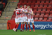 Max Sheaf scores and runs off to celebrate the opening goal  during the EFL Sky Bet League 2 match between Cheltenham Town and Walsall at Jonny Rocks Stadium, Cheltenham, England on 11 January 2020.