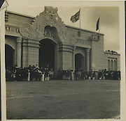 The building you ask about was in Independence square on 4 Feb 1948—may have been a facade erected for the occasion. I was then 17 & a member of the Photographic Society of Ceylon which gave members a showy m'ship card to enable them to buy film in times of rationing. I had a ticket for the day to a public enclosure but used the m'ship card^& TONS of brass to pose as a press photographer of which there were stacks (many from o'seas) –& thus got right into  the action. I knew my pics would have historic significance one day!!!<br /> from the Tony Peries Collection.