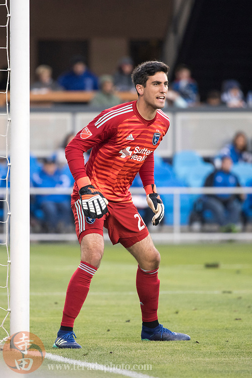 May 19, 2018; San Jose, CA, USA; San Jose Earthquakes goalkeeper Andrew Tarbell (28) during the first half against D.C. United at Avaya Stadium.