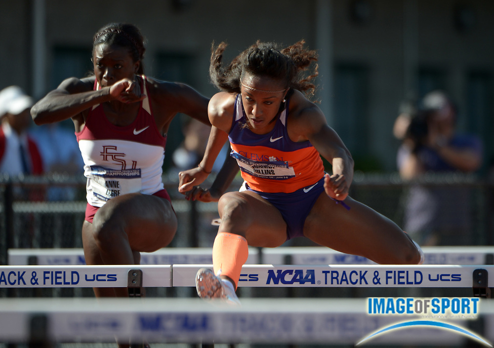 Jun 7, 2013; Eugene, OR, USA; Brianna Rollins of Clemson wins womens 100m hurdles semifinal in a collegiate record 12.47  in the 2013 NCAA Championships at Hayward Field.  Photo by Kirby Lee