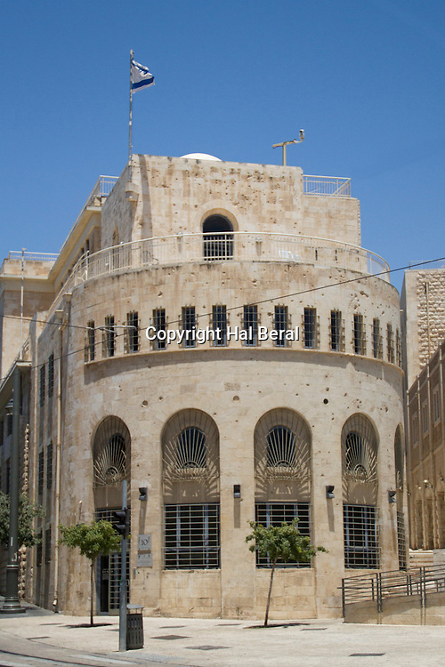 Old CIty Hall bears pockmarks from bullet holes fired at it by the Jordanians during the period it was an Israel Defense Force lookout point on the truce line between Israel held Jerusalem and the Old CIty held by Jordan<br /> Jerusalem,Israel