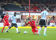 Callum Paterson (20 brings down Gary Harkins to concede the penalty - Dundee v Hearts, preseason friendly at Dens Park<br /> <br />  - &copy; David Young - www.davidyoungphoto.co.uk - email: davidyoungphoto@gmail.com