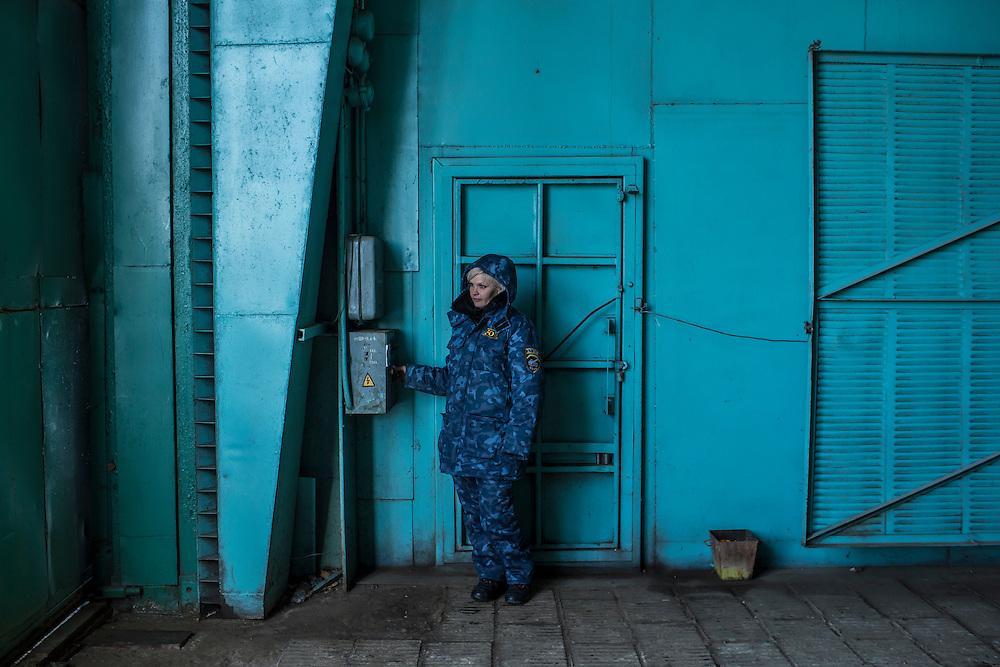 An employee of the Malyshev Tank Factory on Wednesday, February 11, 2015 in Kharkiv, Ukraine.