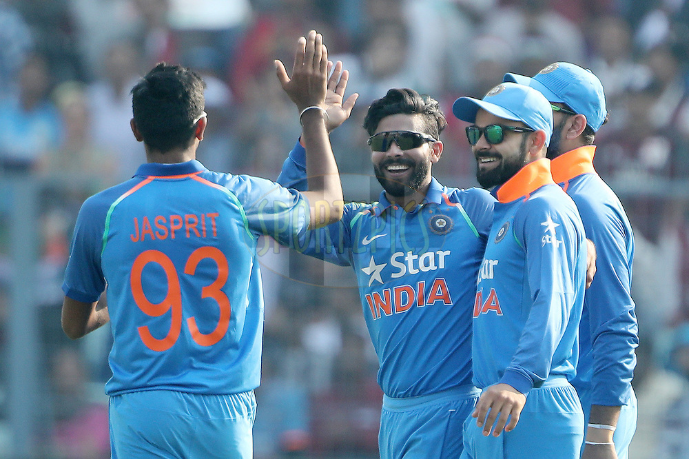 Ravindra Jadeja of India celebrates the wicket of Jason Roy of England during the third One Day International (ODI) between India and England  held at Eden Gardens in Kolkata on the 22nd January 2017<br /> <br /> Photo by: Ron Gaunt/ BCCI/ SPORTZPICS