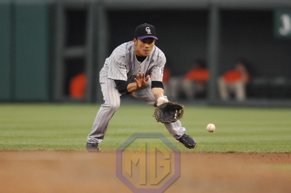 08 June 2007:  Colorado Rockies second baseman Kazuo Matsui (7) in action against the Baltimore Orioles.  The Orioles defeated the Rockies 4-2 in interleague play at Camden Yards in Baltimore, MD.   ****For Editorial Use Only****