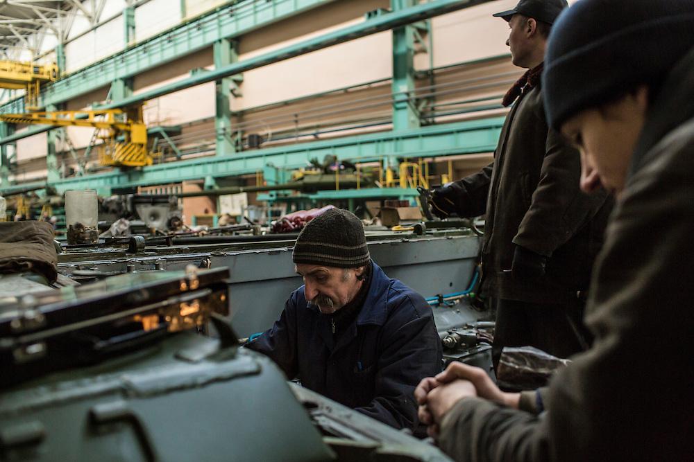 The tank assembly line at the Malyshev Tank Factory on Wednesday, February 11, 2015 in Kharkiv, Ukraine.