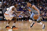 Mar 21, 2016; Phoenix, AZ, USA; Memphis Grizzlies guard Ray McCallum (5) handles the ball against the Phoenix Suns guard Brandon Knight (3) in the second half at Talking Stick Resort Arena. The Memphis Grizzlies won 103-97. Mandatory Credit: Jennifer Stewart-USA TODAY Sports