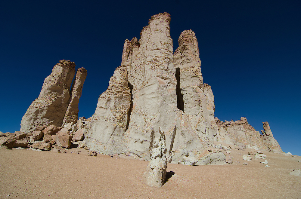 Monolith rock formations near Zapaleri volcano, tri-boarder of Chile, Bolivia & Argentina. August 2011
