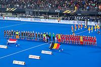 BHUBANESWAR, INDIA -  line up  tijdens   de  finale tussen België en Nederland (0-0) bij het WK Hockey heren in het Kalinga Stadion. Belgie wint na shoot-outs. COPYRIGHT KOEN SUYK