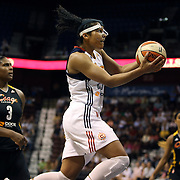 Alyssa Thomas, Connecticut Sun, playing with a face mask to protect her injured nose, drives to the basket for two points during the Connecticut Sun Vs Tulsa Shock WNBA regular season game at Mohegan Sun Arena, Uncasville, Connecticut, USA. 3rd July 2014. Photo Tim Clayton