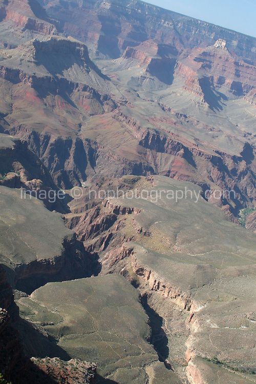 The Grand Canyon from the South Rim in Arizona USA. One of the Seven Natural Wonders of the World, the canyon was created by the Colorado River millions of years ago. The canyon is 277 river miles long, up to 18 miles wide and a mile deep.
