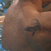 Ryan Lochte, USA, within his tattoo training at the Aquatic Centre at Olympic Park, Stratford during the London 2012 Olympic games preparation at the London Olympics. London, UK. 25th July 2012. Photo Tim Clayton