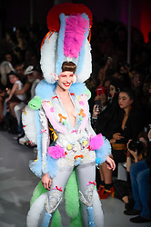 © Licensed to London News Pictures. 13/09/2019. LONDON, UK.  A model presents a look by Pam Hogg during Fashion Scout SS20, an off schedule show at Victoria House in Bloomsbury Square, on the opening day of London Fashion Week.  Photo credit: Stephen Chung/LNP