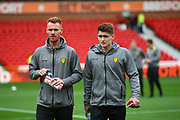Burton Albion midfielder Tom Naylor (15) and Ben Fox during the EFL Sky Bet Championship match between Nottingham Forest and Burton Albion at the City Ground, Nottingham, England on 21 October 2017. Photo by John Potts.