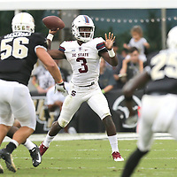 ORLANDO, FL - SEPTEMBER 08:  Tyrece Nick #3 of the South Carolina State Bulldogs attempts a pass during a football game against the UCF Knights at Spectrum Stadium on September 8, 2018 in Orlando, Florida. (Photo by Alex Menendez/Getty Images) *** Local Caption *** Tyrece Nick
