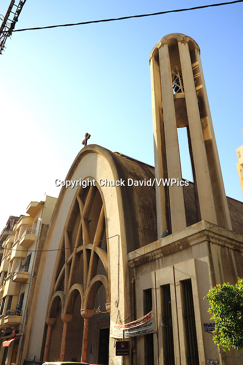 The round-domed front entrance and bell tower of a Lebanese church in Beirut's historical district, Lebanon.