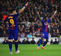 Ousmane Dembele and Luis Suarez of Barcelona appeal to the referee - Mandatory by-line: Matt McNulty/JMP - 14/03/2018 - FOOTBALL - Camp Nou - Barcelona, Catalonia - Barcelona v Chelsea - UEFA Champions League - Round of 16 Second Leg