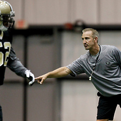 July 27, 2012; Metairie, LA, USA; New Orleans Saints defensive coordinator Steve Spagnuolo during training camp at the team's indoor practice facility. Mandatory Credit: Derick E. Hingle-US PRESSWIRE
