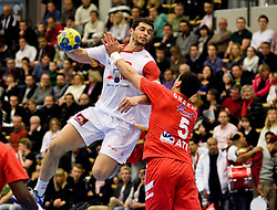 16.01.2011, FFS Arena, Lund, SWE, IHF Handball Weltmeisterschaft 2011, Herren, Tunesien vs Spanien, im Bild, //  Spanien Spain 2 Entrerrios Rodriguez Alberto Tunisien Tunisia Gahrbi Mahmoud // during the IHF 2011 World Men's Handball Championship match Tunisia vs Spain at FFS Arena in Lund, Sweden on 16/1/2011. EXPA Pictures © 2011, PhotoCredit: EXPA/ Skycam/ Ibrahim Bilkanovic +++++ ATTENTION - OUT OF SWEDEN/SWE +++++
