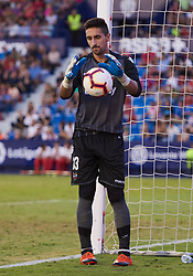 September 30, 2018 - Valencia, U.S. - VALENCIA, SPAIN - SEPTEMBER 30: Oier, goalkeeper of Levante UD with the ball during the La Liga match between Levante UD and Deportivo Alaves at Estadio Ciutat de Valencia on September 30, 2018, in Valencia, Spain. (Photo by Carlos Sanchez Martinez/Icon Sportswire) (Credit Image: © Carlos Sanchez Martinez/Icon SMI via ZUMA Press)