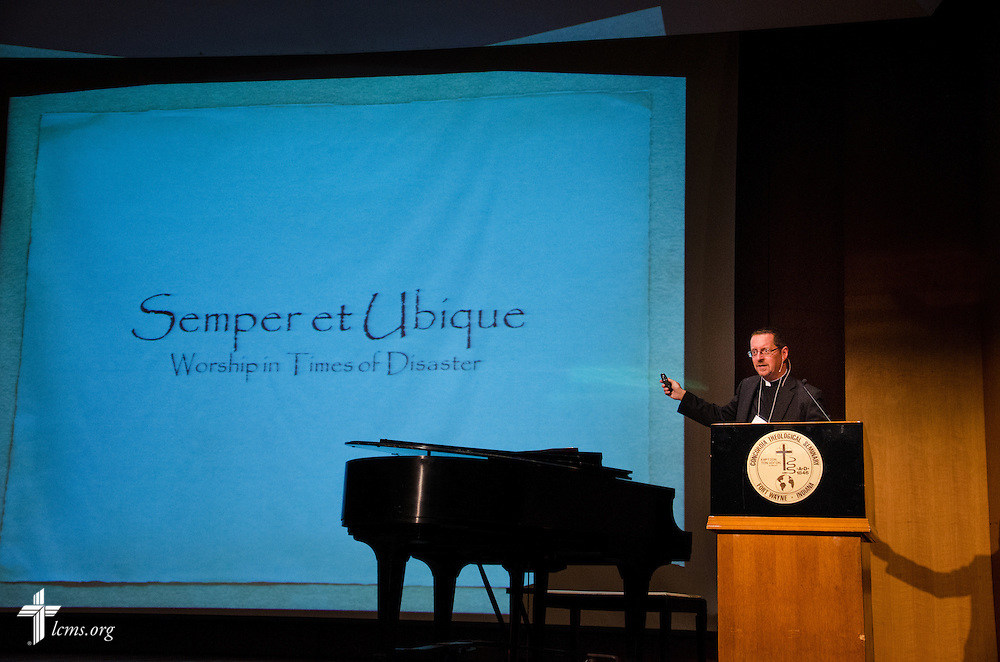 Rev. William Weedon, director of worship for LCMS declares the merits of worship in times of disaster. He was one of several presenters from all over the world to speak at the 2014 IDRC.