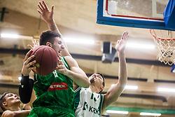 Aleksandar Lazic of KK Olimpija and Ziga Fifolt of KK Krka  during basketball match between KK Union Olimpija and KK Krka Novo Mesto in 1st Round of Nova KBM league, on October 11, 2018, in SD Leona Stuklja, Novo Mesto, Slovenia. Photo by Grega Valancic / Sportida