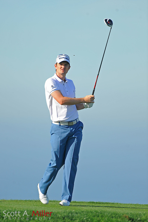 Justin Rose tees off on the 13th hole during the second round of the Farmers Insurance Open on the North Course at Torrey Pines on Jan. 27, 2012 in La Jolla, California. ..©2012 Scott A. Miller