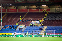 BURNLEY, ENGLAND - Thursday, August 16, 2018: İstanbul Başakşehir supporters outnumbered by stewards during the UEFA Europa League Third Qualifying Round 2nd Leg match between Burnley FC and İstanbul Başakşehir at Turf Moor. (Pic by David Rawcliffe/Propaganda)