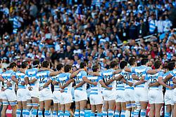 Argentina line up during the national anthems - Mandatory byline: Rogan Thomson/JMP - 07966 386802 - 25/09/2015 - RUGBY UNION - Kingsholm Stadium - Gloucester, England - Argentina v Georgia - Rugby World Cup 2015 Pool C.