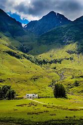 A house in Glencoe near the shore of Loch Achtriochtan, Highlands of Scotland<br /> <br /> (c) Andrew Wilson   Edinburgh Elite media
