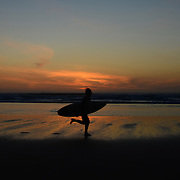 Surfer in the sunset.
