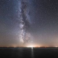 Milky Way shines brightly in the sky as seen from Micigan Island, Lake Superior, Wisconsin