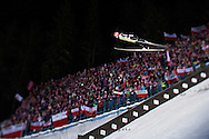 Zakopane, Poland - 2017 January 22: Richard Freitag from Germany soars through the air during Large Hill Individual Competition FIS Ski Jumping World Cup 2017 at Wielka Krokiew on January 22, 2017 in Zakopane, Poland.<br /> <br /> Adam Nurkiewicz declares that he has no rights to the image of people at the photographs of his authorship.<br /> <br /> Picture also available in RAW (NEF) or TIFF format on special request.<br /> <br /> Any editorial, commercial or promotional use requires written permission from the author of image.<br /> <br /> Mandatory credit:<br /> Photo by © Adam Nurkiewicz / Mediasport