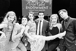 The six finalists - Georgina Hopson, Blake Appelqvist, Hilary Cole, recipient Daniel Assetta, Ashleigh Rubenach and Robert McDougall - on stage at the Rob Guest Endowment Gala 2015, taken at the Lyric Theatre in Sydney, on Monday, 9 November 2015.  <br /> <br /> Hosted by David Campbell and Lucy Durack, guest artists performing at the concert included musical theatre performers Rob Mills, Caroline O&rsquo;Connor and Jemma Rix, Dirty Dancing star Mark Vincent, 2014 Rob Guest Endowment winner Josh Robson, and cast members from CATS and Matilda the Musical.<br /> <br /> The six finalists for the 2015 Rob Guest Endowment are Blake Appelqvist (West Side Story, new VCA Graduate), Daniel Assetta (Cats, Wicked), Hilary Cole (Carrie, Dogfight), Georgina Hopson (Into The Woods, The Pirates of Penzance), Rob McDougall (Les Miserables, Phantom of the Opera) and Ashleigh Rubenach (Anything Goes, The Sound of Music).  The competition was judged by three of Australian musical theatre&rsquo;s finest creatives, Kelly Abbey, Peter Casey and Gale Edwards.<br /> <br /> The 2015 recipient was Daniel Assetta.
