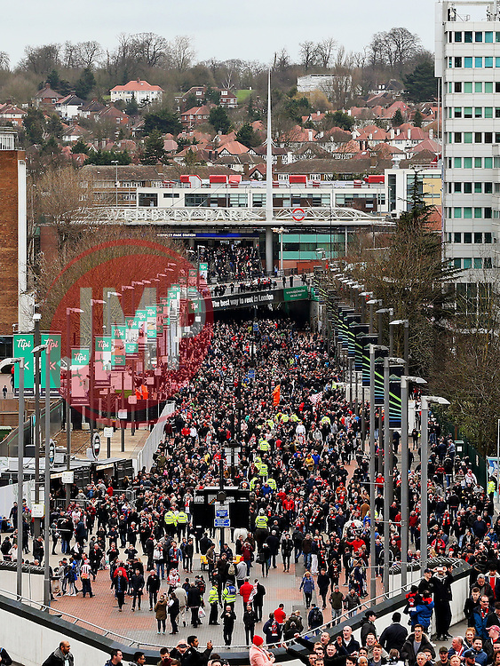 A general view of Wembley Way as fans arrive at Wembley Stadium - Mandatory by-line: Matt McNulty/JMP - 26/02/2017 - FOOTBALL - Wembley Stadium - London, England - Manchester United v Southampton - EFL Cup Final