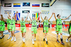 Tina Trebec of Slovenia, Tina Jakovina of Slovenia, Annamaria Prezelj of Slovenia, Ziva Zdolsek of Slovenia, Maja Erkic of Slovenia, Sandra Pirsic of Slovenia celebrate after winning and qualifying during basketball match between Women National Teams of Slovenia and Lithuania in Qualifications of EuroBasket Women 2017, on November 19, 2016 in Gimnazija Celje, Slovenia. Photo by Vid Ponikvar / Sportida