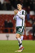 Barnsley's Kieffer Moore (19) applauds the Barnsley supporters during the EFL Sky Bet Championship match between Nottingham Forest and Barnsley at the City Ground, Nottingham, England on 24 April 2018. Picture by Jon Hobley.