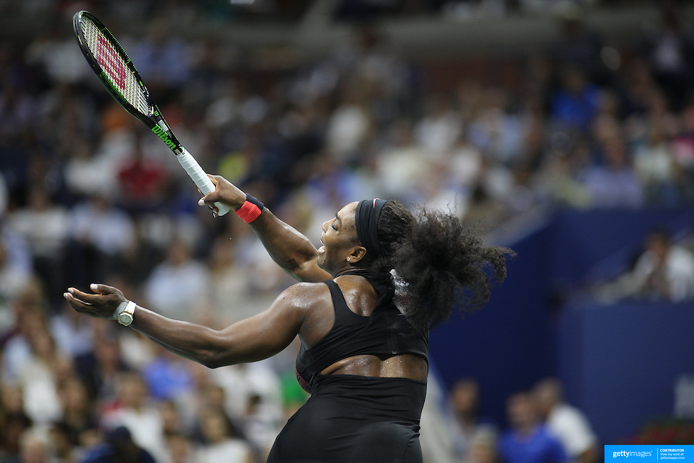 Serena Williams, USA, in action against her sister Venus Williams, USA, in the  Women's Singles Quarterfinals match during the US Open Tennis Tournament, Flushing, New York, USA. 8th September 2015. Photo Tim Clayton