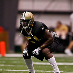 July 31, 2010; Metairie, LA, USA; New Orleans Saints linebacker Jonathan Vilma (51) during a training camp practice at the New Orleans Saints indoor practice facility. Mandatory Credit: Derick E. Hingle