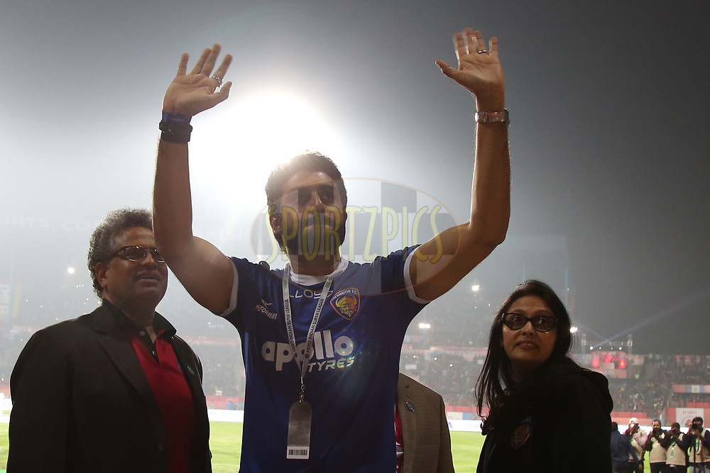 Abhishek Bachchan, Vita Dani owner of Chennaiyin FC  during match 33 of the Hero Indian Super League between Jamshedpur FC and Chennaiyin FC held at the JRD Tata Sports Complex, Jamshedpur, India on the 28th December 2017<br /> <br /> Photo by: Deepak Malik  / ISL / SPORTZPICS