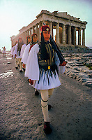 Evzones march past the Parthenon, Acropolis, Athens, Greece